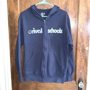 Rival Schools navy blue white print band hoodie